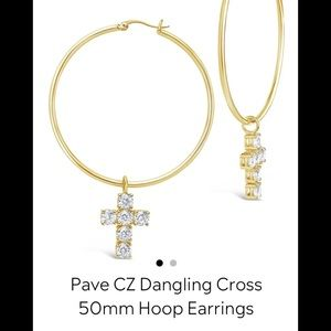 Sterling forever Pave CZ dangling cross 50mm hoops